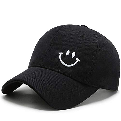 Herren Kappe Hut Summer Smiley Face Caps Für Frauen Männer Hut Khaki Orange Baseball Cap Snapback Hip Hop Papa Hüte-Black_Baseball_Cap_Adjustable Ctuosa
