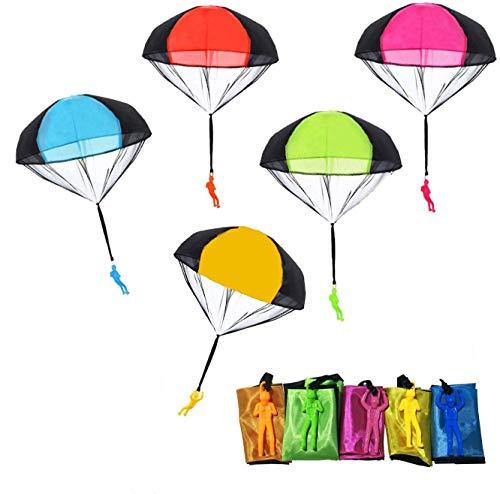 Ucradle Kinder Fallschirmspringer Spielzeug, 10 Stück Fallschirmspielzeuge Kinder Hand Werfen Fallschirm Outdoor Flugspielzeug Geschenk für Kinder, Wurf Parachute Spiele für Draußen