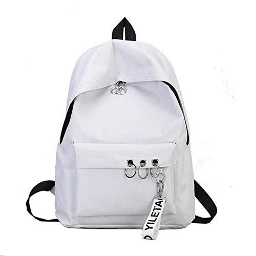 Gaoominy Einfache L?Ssige Rucksack Einfarbig Schulter Computertasche M?Nner und Frauen Leinwand College-Stil Schultasche Wei?
