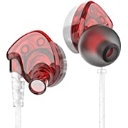in-Ear Headphones Earbuds High Resolution Heavy Bass with Mic-Silver Red