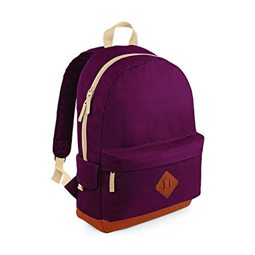(ONE, Burgundy) - BagBase Unisex Heritage Colours School Backpack Black,Blue,Red,Navy