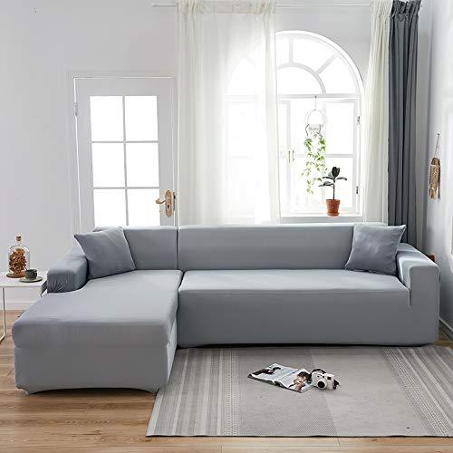 LiQinKeJi8 Funda de sofá, Cubiertas de sofá de Esquina de Color sólido para Sala de Estar Cubierta de sofá Elástico Sofá Sofá Toalla L Forma Sofá Necesito Comprar 2pcs Slightcovers para sofás