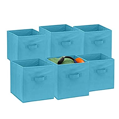 Foldable Cube Storage Bins - 6 Pack - These Decorative Fabric Storage Cubes are Collapsible and Great Organizer for Shelf, Closet or Underbed. Convenient for Clothes or Kids Toy Storage (Light Blue)