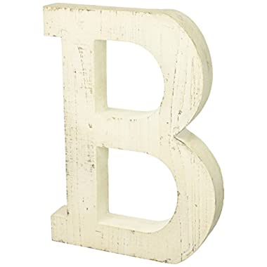 Adeco Wooden Hanging Wall Letters B - White Decorative Wall Letter of Living Room, Baby Name and Bedroom Décor, Whitewash (B)