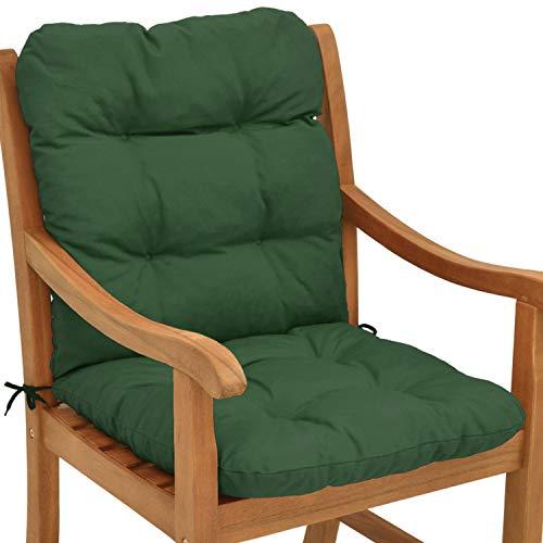 Beautissu Cojines sillas Jardin Flair NL - Cojín para sillas de terraza o Cojines Exterior con Respaldo bajo - 100x50x8 cm - Relleno de Copos de gomaespuma - Verde Oscuro