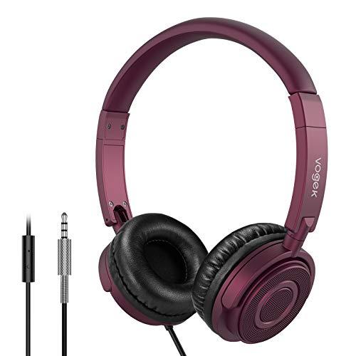 Vogek-Kopfhörer mit Mikrofon, tragbare, flach zusammenklappbare Headsets mit Stereobass, 1,5 m verwickelungsfreies Kabel und verstellbares Kopfband für Home-Office-Reisen, Claret