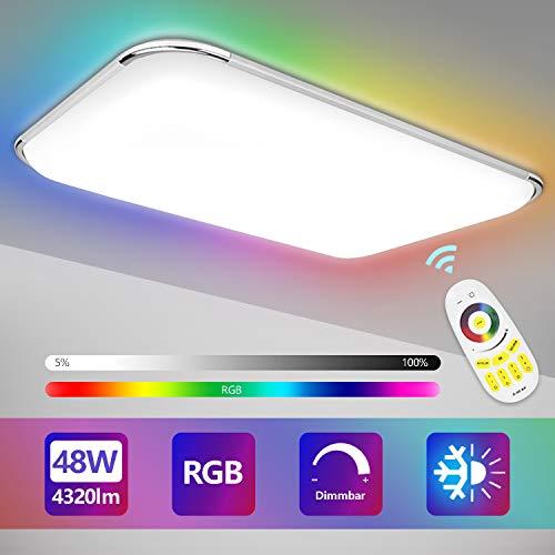 Hengda LED Deckenleuchte, 48W RGB Deckenlampe Dimmbar mit Fernbedienung, Farbtemperatur und Helligkeit Einstellbar, Wohnzimmer Lampe für Bad, Schlafzimmer, Küche, Kinderzimmer, IP44