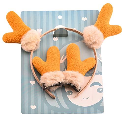 Mamum Serre Tête Oreilles de Lapin Cerf Renard Peluche Bandeau Headband Enfant Noël Cadeau Déguisement Adulte Déco Cute Cosplay Accessoire (Vert)