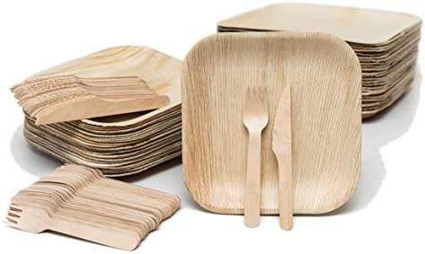 EvermadeGREEN Disposable Palm Leaf Plates and Wooden Utensils 150 Pc Eco Friendly Alternative product image