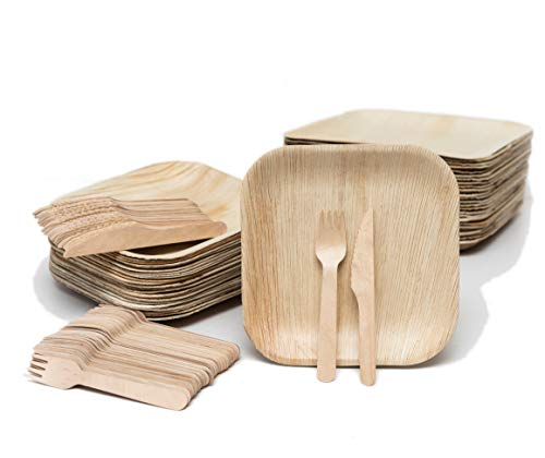 EvermadeGREEN Disposable Palm Leaf Plates and Wooden Utensils 150 Pc - Eco Friendly Alternative to Bamboo Plates, Wooden Plates or Paper Plates - 50 8' Square Palm Leaf Compostable Plates 100 Cutlery