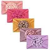 Lazzboy Stirnbänder Kinder Neugeborene Mädchen Baby Blumen Stirnband Haarband Bogen 5pcs Zubehör Kopfbedeckungen Handgemachte Halten Kopf Tuch Elastisches (0-2y)(A)