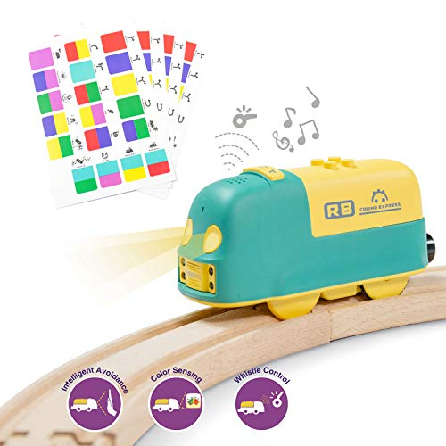 Robobloq Battery-Operated Smart Robot Toy Train, 22 Functions, Coding Toy for Kids, Compatible to Thomas & Friends, BRIO, IKEA, Melissa & Doug Wooden Tracks (Train)