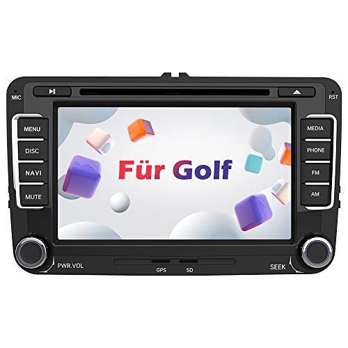 AWESAFE Autoradio mit Navi für Volkswagen Golf, 2 Din Radio mit 7 Zoll Touchscreen Monitor, unterstützt Lenkradsteuerung Mirrorlink Bluetooth CD DVD