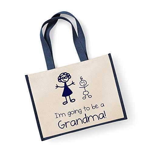 Grand sac de jute I'm Going To Be A mamie Bleu marine Sac fête des mères Nouvelle Maman anniversaire Cadeau de Noël