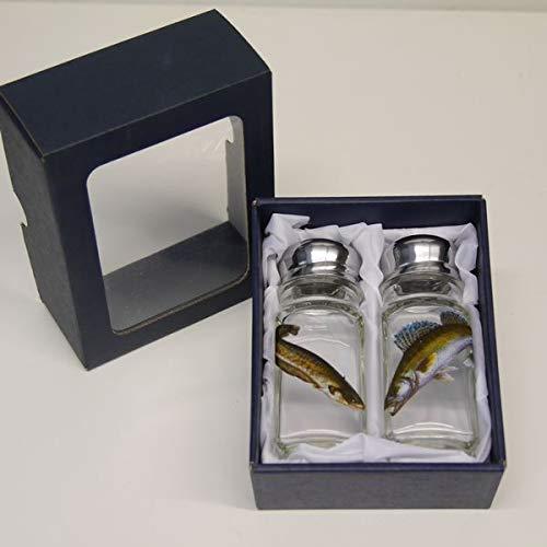 GTK - Gewei & trofee kroomhout zout & peper strooier set met gekleurd motief vis golf en snoep