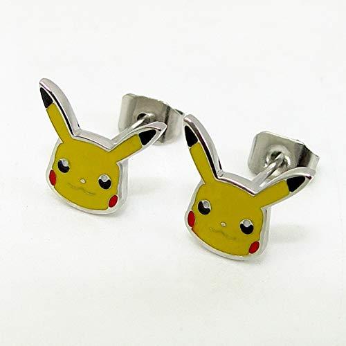 GUOZHENG Ohrringe Für Frauen Edelstahl Niedlichen Cartoon Ohrstecker Anime Pokemon Tasche Monster Girl Geschenke, Stahl Farbe