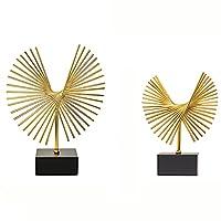 Wushu テーブルトップメタル置物 2ピーススーツ 彫刻芸術デザイン 黒ベース付き デコレーションモデルルーム研究エントリップリビングルームテレビキャビネットオフィス 装飾アクセサリー(Color:ペア)