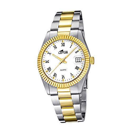 LOTUS Reloj Modelo 15823/1 de la colección Excellent, Caja de 30 mm Blanco con Correa de Acero Bicolor para señora