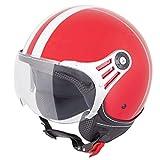 Vinz Rollerhelm Jethelm Fashionhelm | Roller Jet Helm mit Streifen | in Gr. XS-XL | Motorradhelm mit Visier | ECE zertifiziert (XS, Rot)