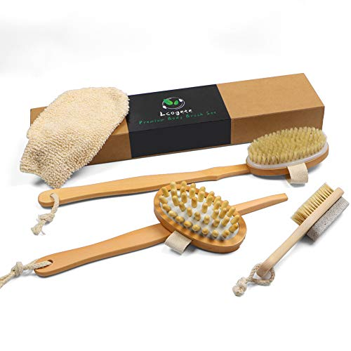Lcogete Dry Brushing Body Brush Set with Long Handle,Natural Bristle Body Brush, Rubber SPA Massage Brush, Foot Care Pumice Stone Brush,Plant Fiber Bath Gloves, Shower Brush Kit (4 Pack)
