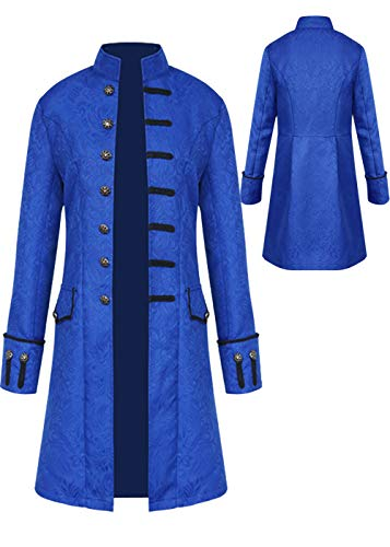 Mens Vintage Tailcoat Jacket Goth Long Steampunk Formal Gothic Victorian Frock Coat Costume for Halloween (Blue, 3XL)