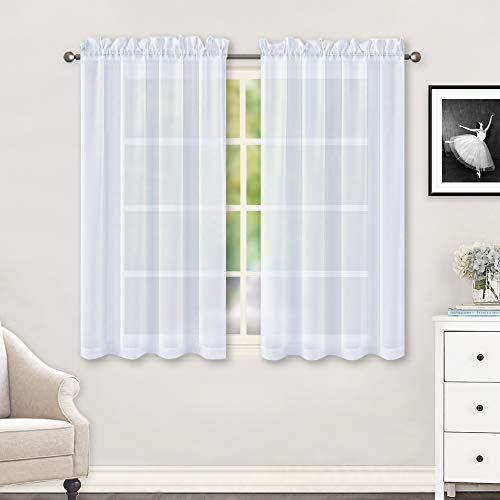 HUTO 2 Panels Small White Sheer Curtains 45 inches Long Rod Pocket Sheer Window Drapes Panels for Kitchen Bathroom