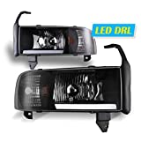 LED DRL Bar Headlights for 1994-2002 DODGE Ram 1500/2500/3500/4000 (NON SPORT) Pair Front Lamps Replacement Assembly Black Clear Head Light AUTOWIKI