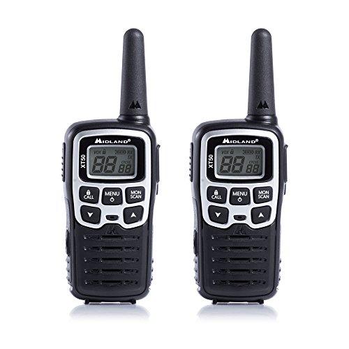 Midland C1178 XT50 - Radio Middle Range Ricetrasmittente Walkie Talkie - Colore Grigio - Formato 24 Canali, Raggio 8 km, 38 Toni - Set di 2 Ricetrasmettitori