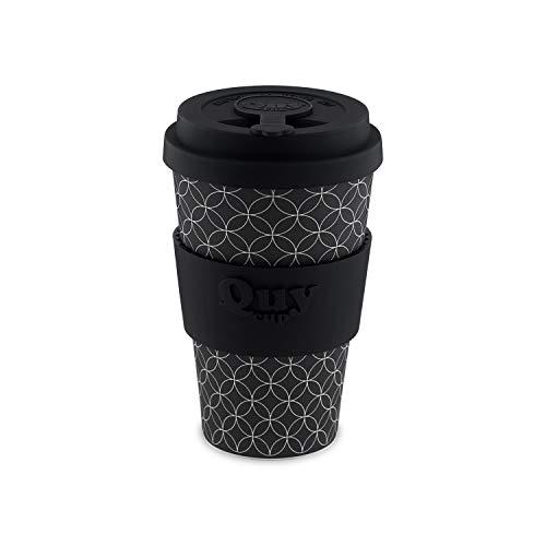 QUY CUP. Infinity. Kaffeebecher To Go, Travel Mug, Bamboo Cup als Mehrweg Tasse für unterwegs, Coffee to go Becher, nachhaltiger Becher mit Deckel und Silikonmanschette, 400ml