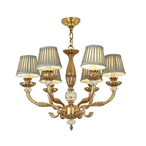 NQN Lámpara de araña, retro, de cristal, lámpara de araña, lámpara de techo americana, lámpara de salón, atmósfera de lujo, lámpara llena de cobre, 6H