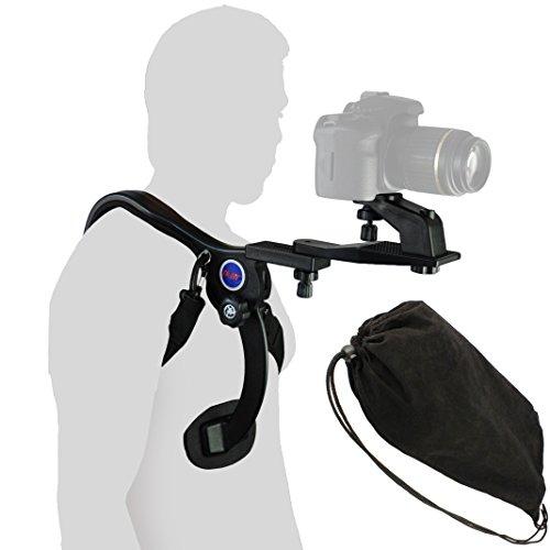 Impulsfoto Leichtes Schulterstativ Set für DSLR & Camcorder - Schulterstuetze mit 3 Stativebenen - Koerperstativ Fuer beide Haende frei
