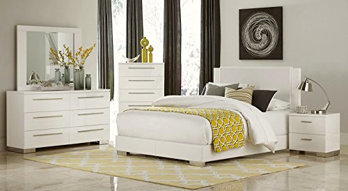 HEFX Lisle Queen 5 Piece Contemporary Bedroom Set in White Leatherette & Lacquer - Bed, 2 Nightstand, Dresser & Mirror