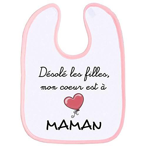 Bavoir garçon, bavette bébé, maman, amour, tendresse, scratch au cou, fête des mères, humour, extra couvrant - Rose