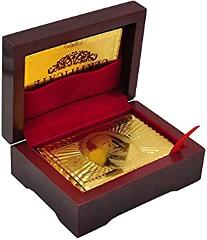 Luxury 24K Gold Foil Poker Playing Cards Deck of Cards with Wooden Gift Box Premium Waterproof Poker Cards for Party and Card Decks Game Standard Size