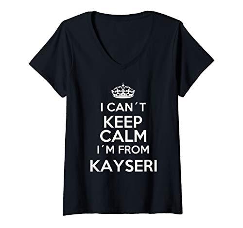 Damen I CANT KEEP CALM Kayseri 38 Memleket Türkei Geschenkidee T-Shirt mit V-Ausschnitt