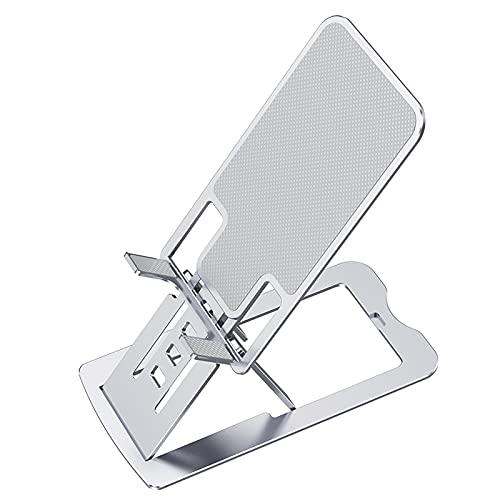 MCYAW Tableta de la Tableta de Escritorio de aleación de Aluminio Ajustable Table Plegable Teléfono estándar Titular de teléfono móvil Soporte para celda (Color : Silver)