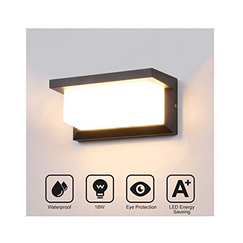 18W LED Wandleuchte Aussen Wandlampe Aussenleuchte Wasserdicht IP65 Außenlampe Anthrazit LED Außenwandleuchte Wandbeleuchtung Innen & Außen Warmweiß