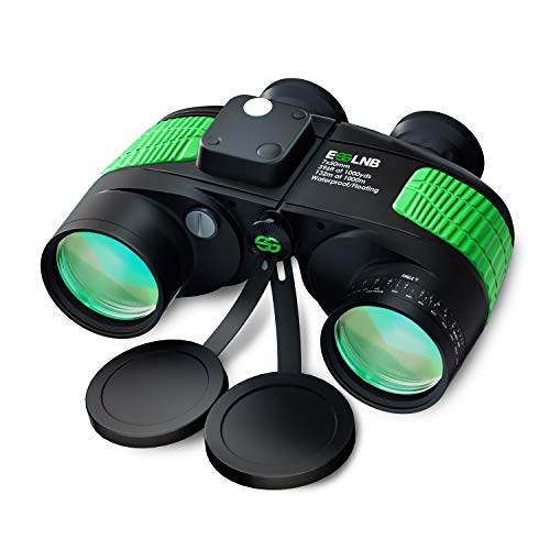 ESSLNB 7X50 Marine Binoculars IPX7 Waterproof Binoculars for Boating with Illuminated Rangefinder and Compass BAK4 Prism FMC Military Floating Binoculars for Navigation Hunting w/Bag and Strap