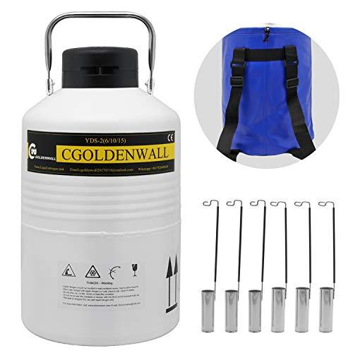 CGOLDENWALL Tanque de Nitrógeno Líquido 2L-30L Contenedor de Líquido Criogénico Portátil Recipiente de Aleación de Aluminio Frasco de Dewar (Capacidad: 6L)