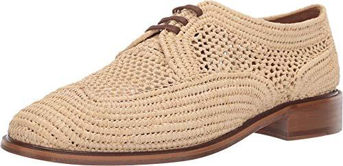 Clergerie Women's Beige Woven Japaille Oxfords Shoes, Natural Rafia, 7.5