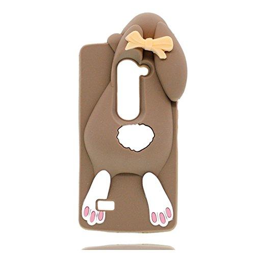EarthNanLiuPowerTu LG C50 hülle, TPU Gel Shell für Mädchen Haut handyhülle für LG C50 Cover - Schöne 3D Cartoon Hase Kaninchen Anti-Shock Kratzer