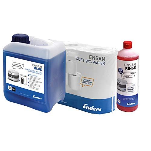 Enders Soft WC-Papier Selbstauflösend + Ensan Rinse + 2,5 L Ensan Blue Flüssigkeit