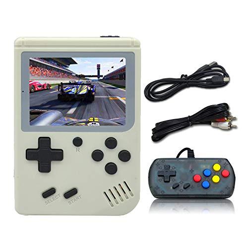 Anbernic Consola de Juegos portátil, Consola de Juegos Retro FC, Consola de Videojuegos con Juegos clásicos de 3 Pulgadas 8 bits 500 (Blanco)