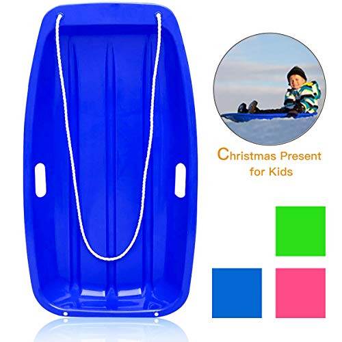 "Soosi Plastic Snow Sleds for Kids and Adult, 35""Snow Sled Snow Slider Toboggan Sled for Toddlers with 2 Handles and Pull Ropes for Outdoor Winter Slider Downhill Snow Board,Blue-35"" x 18"" x 5"""
