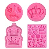 4 Pack Crown Fondant Candy Silicone Molds Bows Crown Heart Mold for Sugarcraft, Cake Decoration, Cupcake Topper, Chocolate, Pastry, Cookie Decor, Jewelry, Clay, Epoxy Resin, Crafting Projects