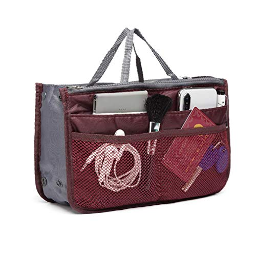 Ducomi Organizer Borsa Donna con Interno Capiente - Organizzatore Bag con 13 Tasche per Viaggio - Fit Espandibile Ampia Tasca Interna, Doppio Manico (Standard, Bordeaux)