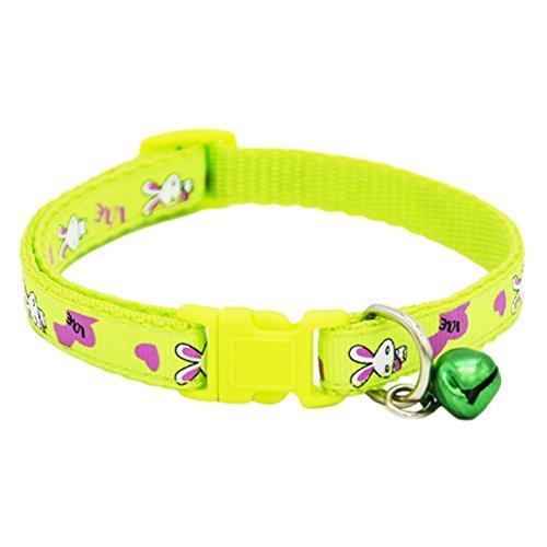 bismarckbeer Kaninchen Bedruckt Puppy Hund Katze Halsband mit Glöckchen Quick Release Schnalle Verstellbar Pet Halsband Halskette