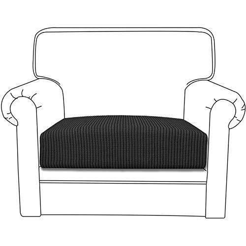 Silingsan Premium Sofa Sitzkissenbezug, Sofasitzbezug Jacquard Elastische, Spandex Couchbezug, Stretch Sofa Überwürfe Sofabezug für Sofa rutschfest Möbelschutz (1 Sitzer, Dunkelgrau)