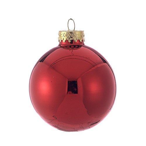 Kurt Adler 65mm Shiny Red Glass Ball Ornaments, 6-Piece Box Set