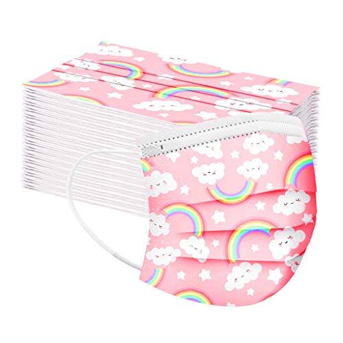 LILICAT 50 Stück Einweg Mundschutz Kinder Gesicht Bandanas Drucken Mund-Tuch Mundbedeckung Atmungsaktive Staubschutz für Jungen und Mädchen